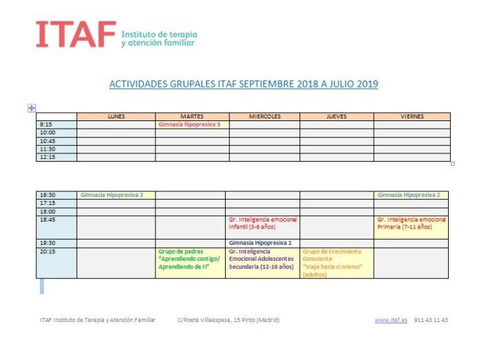 Actividades en ITAF desde Octubre 2018